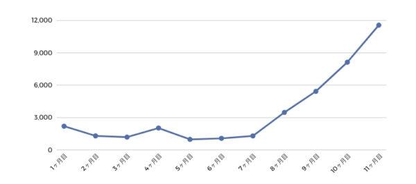 ブログ開始〜11ヶ月目のPV数の推移