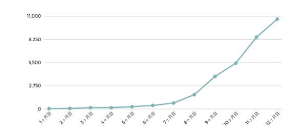 ブログ開始〜12ヶ月目のPV数の推移